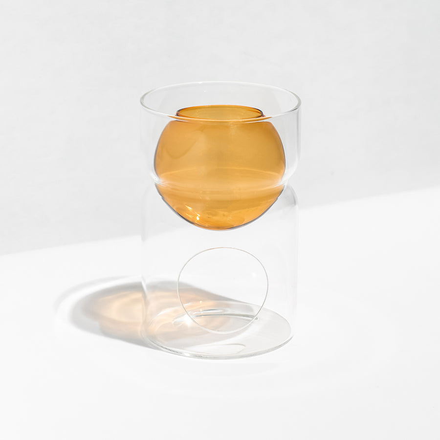 OIL BURNER + TEA LIGHT CANDLE - AMBER | CLEAR