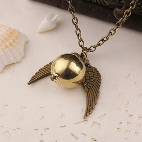 Golden Quidditch Snitch Necklace