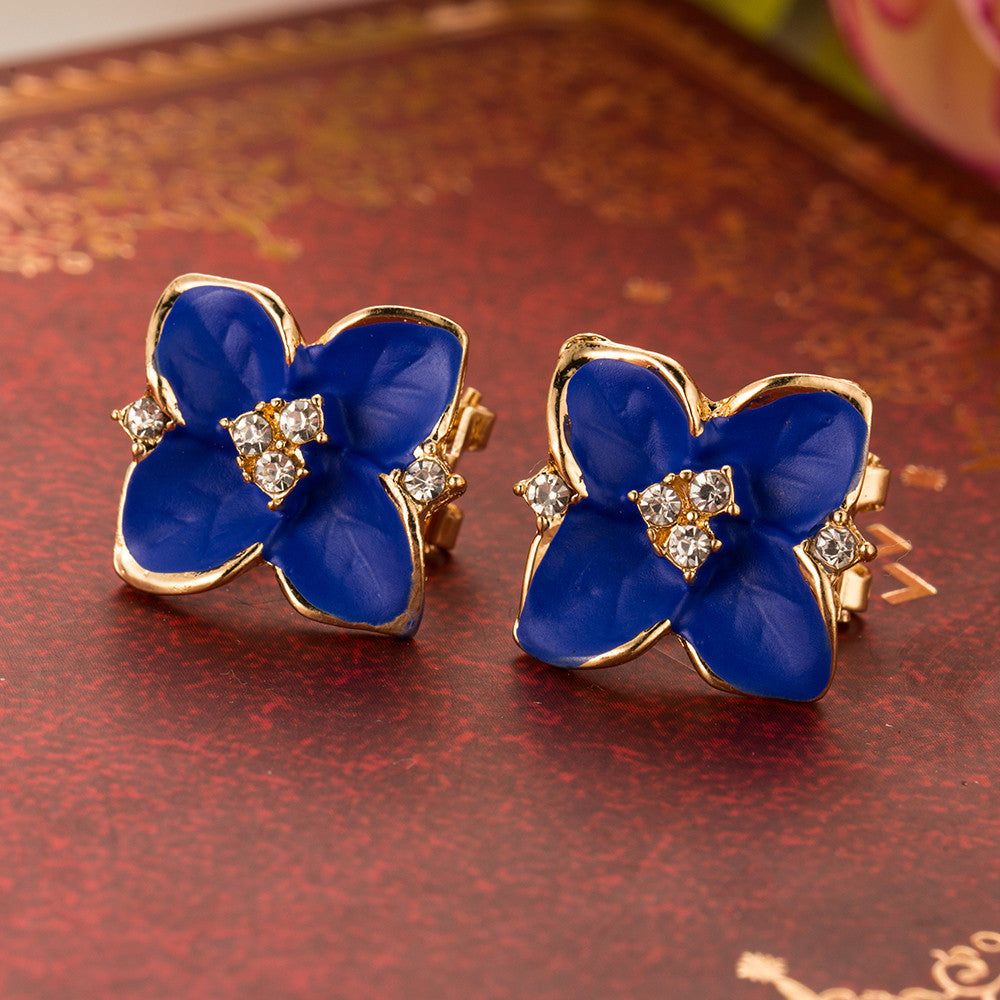 Noble Blue Flower Gold Plated Rhinestone Earring