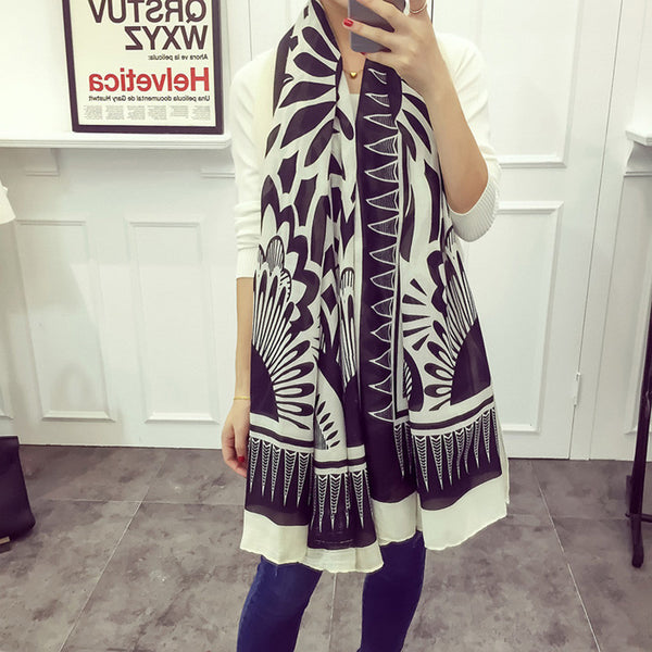 Black & White Geometric Twill Polyester Scarves