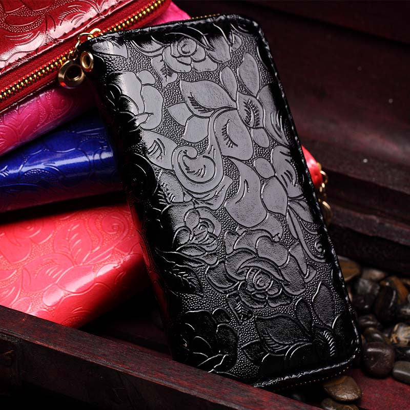 Black Floral Print Leather Clutch