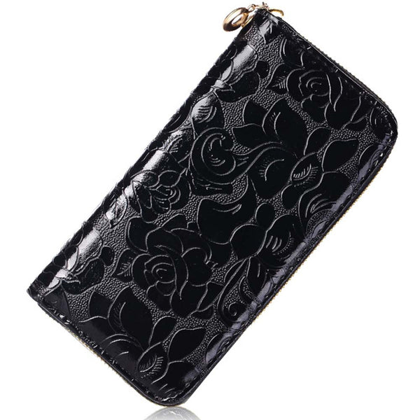 Floral Print Leather Clutch