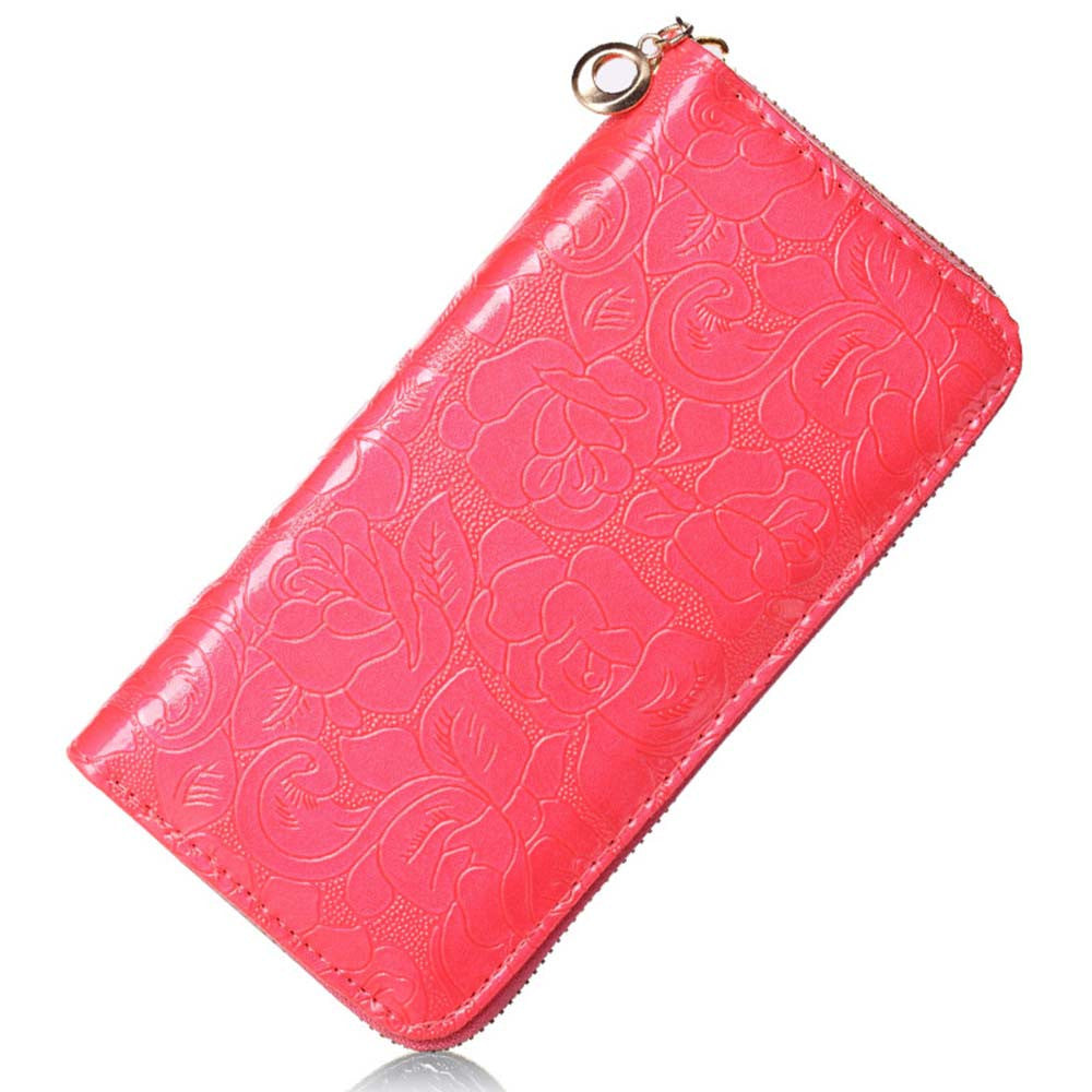 Pink Floral Print Leather Clutch