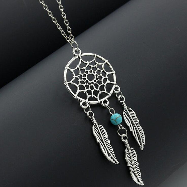 Bohemian Dream Catcher Pendant Necklace with Feather Turquoise Bead