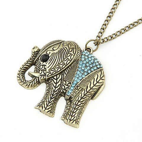 Necklace with Crystal Thailand Elephant Pendant