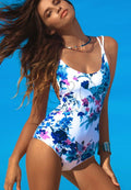 FLORAL BACKLESS LACE UP ONE PIECE SWIMWEAR
