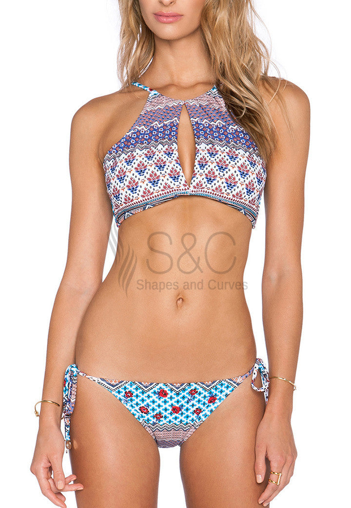 SEXY TIGHT PRINTED HALTER TWO PIECE BIKINI