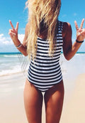 STYLISH STRIPED STRAPS ONE PIECE SWIMWEAR
