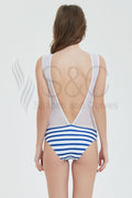 Stripe One Piece Swimwear Mesh Backless Swimsuit Basic Monokini