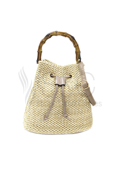 Rattan Bucket Beach Sling Bag