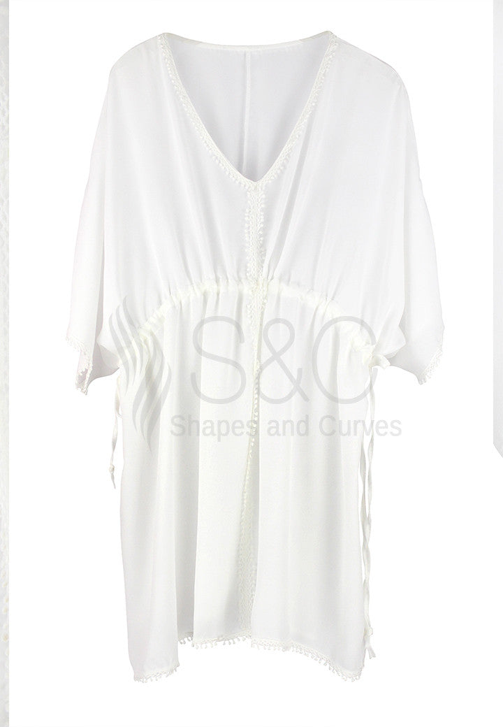 CHIFFON DRAWSTRING COVER UP BEACH DRESS