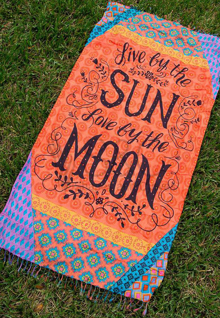 LIVE BY THE SUN LOVE BY THE MOON VIBRANT FLORAL RECTANGULAR BEACH MAT