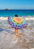 COLORFUL LOTUS BEACH MAT WITH POM POMS
