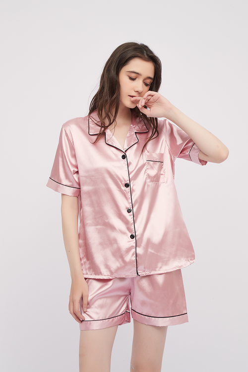 Basic Silk Pajama Short Sleeves Set Lounge Wear Sleepwear