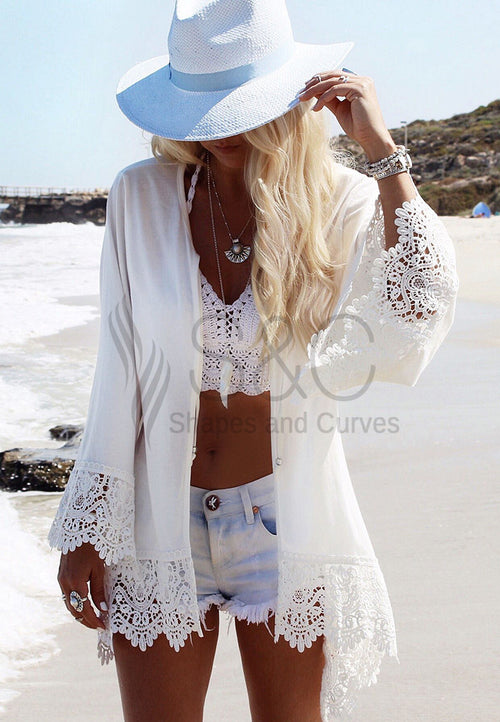 FLOWER LACE WITH EAGLE PRINT BEACH COVER UP