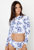 FLORAL CROP TOP LONGSLEEVE RASHGUARD TWO PIECE SWIMSUIT
