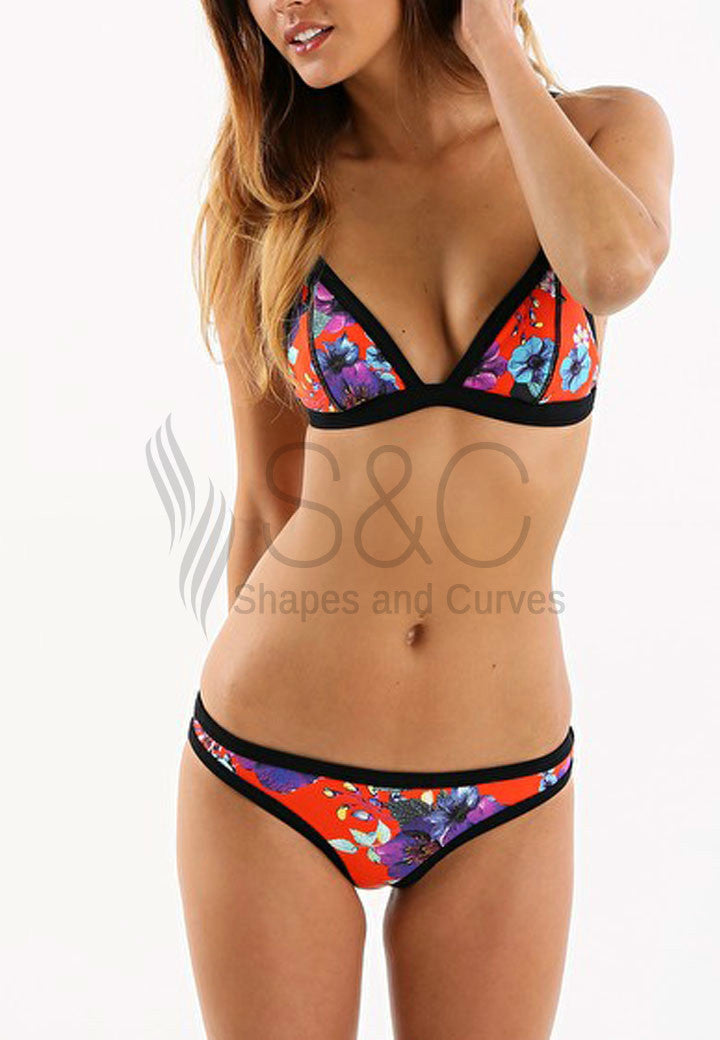 RED FLORAL TRIANGLE TWO PIECE SWIMWEAR
