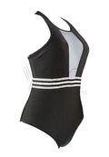SPORTY MESH WITH BACK ZIPPER ONE PIECE SWIMSUIT