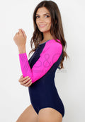 TWO TONE LONGSLEEVE RASHGUARD ONE PIECE SWIMSUIT