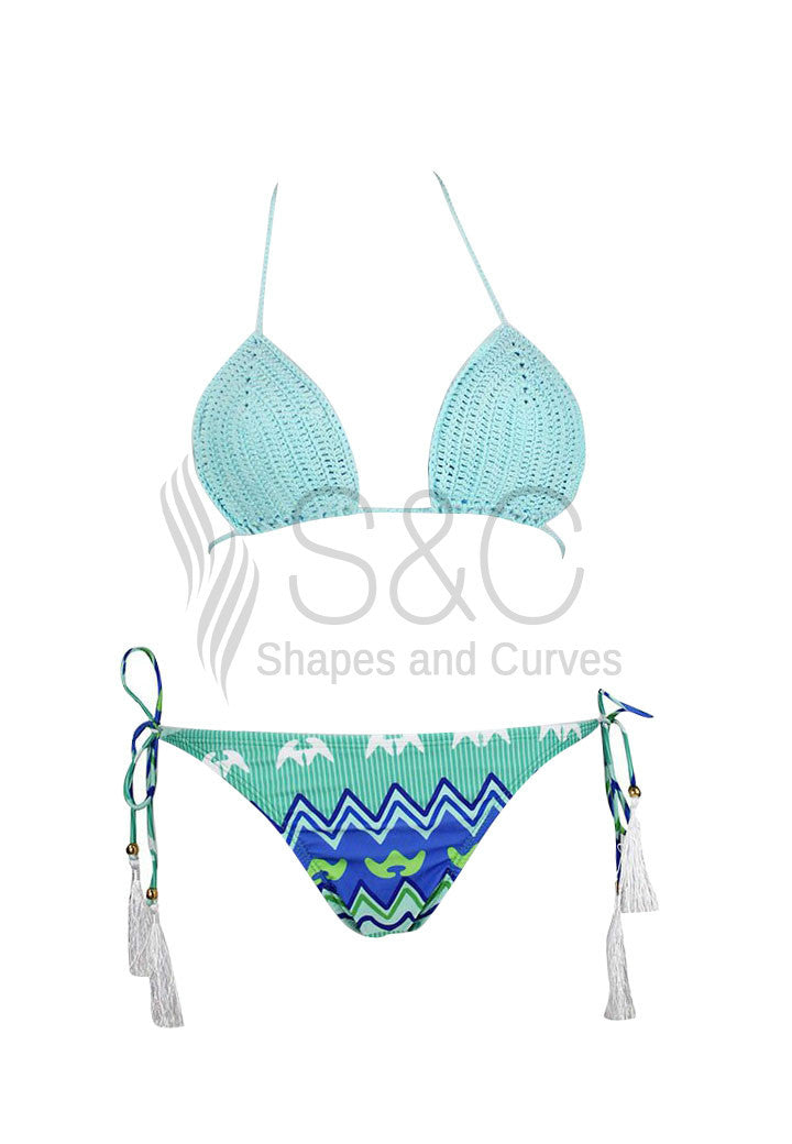 SEXY KNITTED BIKINI TOP BRAZILIAN FRINGE SWIMWEAR