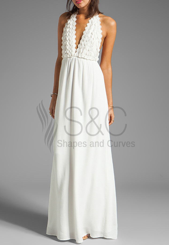 ELEGANT BACKLESS FLOWER LONG BEACH DRESS