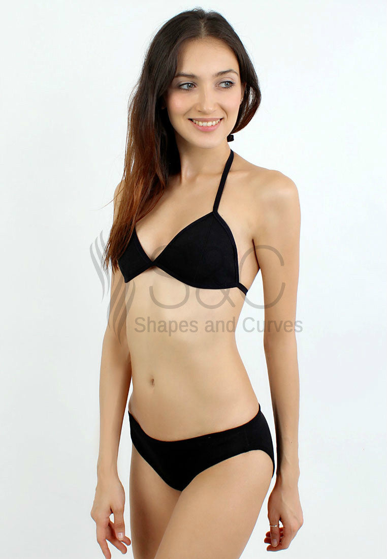 TRIMMED BLACK TWO PIECE NEOPRENE SWIMWEAR