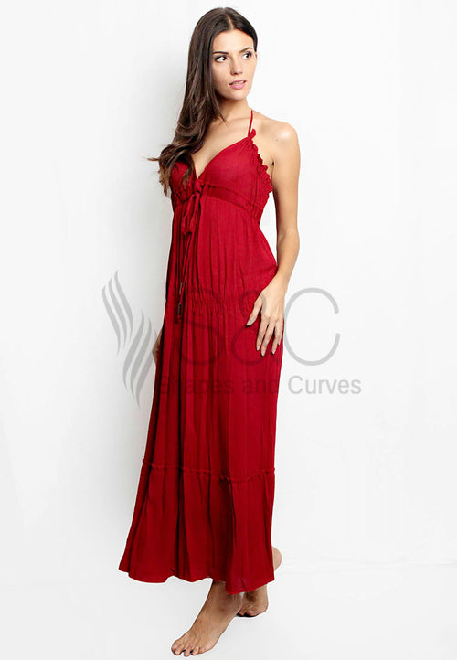 CLASSIC SLEEVELESS PARTY BACKLESS BEACH MAXI DRESS