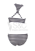 STRIPED HALTER TWO PIECE SWIMWEAR