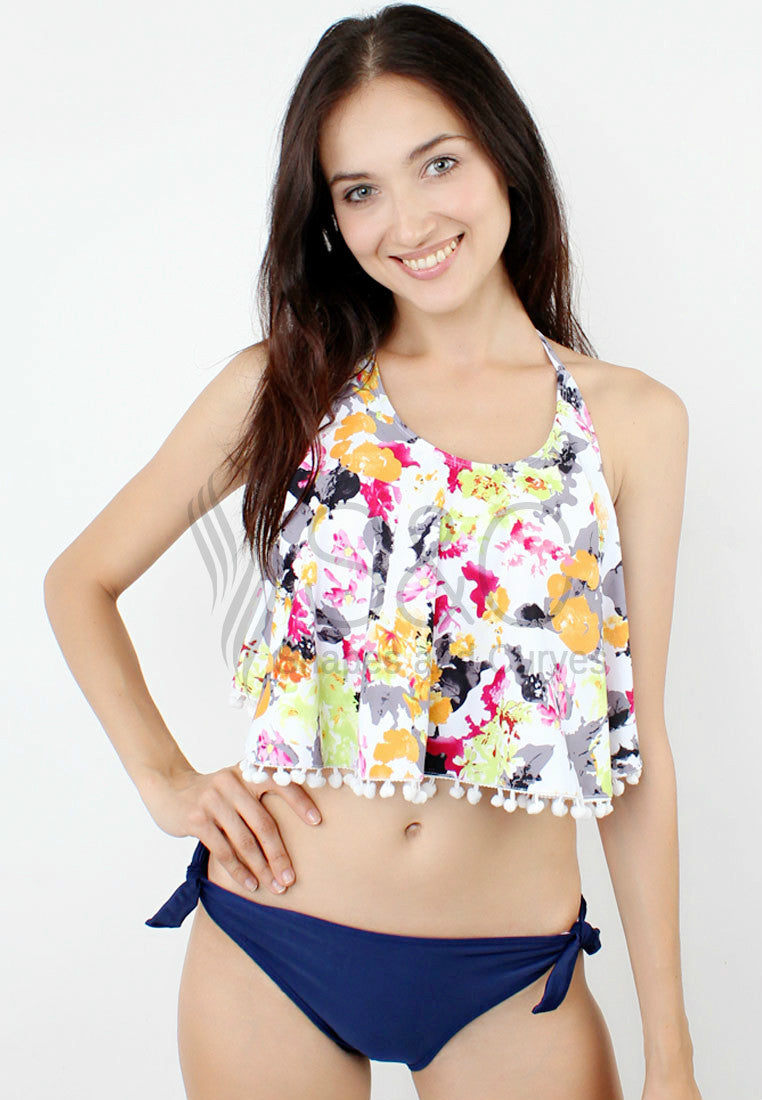 HALTER FLORAL MINI POM-POM TOP TWO PIECE SWIMWEAR