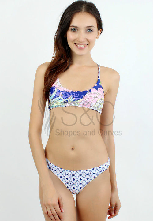 FLORAL AND CROSS PRINT TWO PIECE SWIMSUIT