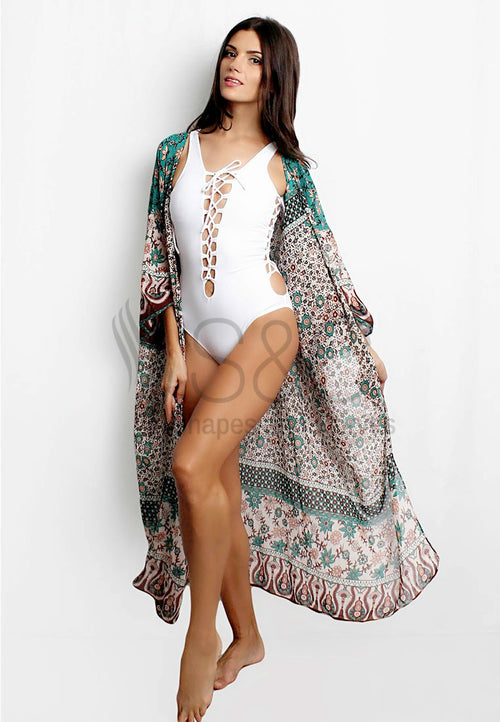 FLORAL PRINT LONG BEACH COVER UP