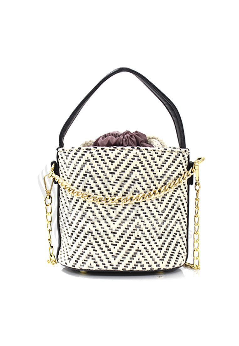 Bohemia Straw Bucket Beach Sling Bag