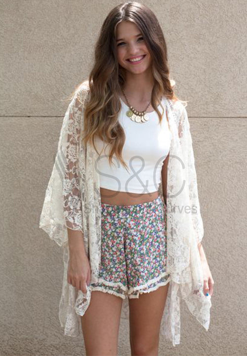 STYLISH FLOWER LACE BEACH COVER UP