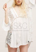 FLORAL PATTERN LACE V-NECK BEACH COVER UP