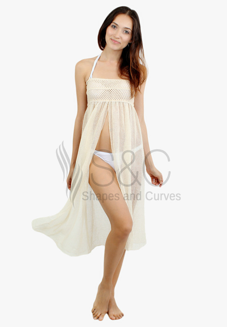 CROCHET HOLLOW OUT MESHY BEACHWEAR COVER UP
