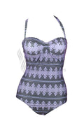 GEOMETRIC PRINT SEXY BACK ONE PIECE SWIMWEAR