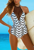 ZIGZAG PRINTED MESH SPLICING ONE PIECE SWIMWEAR