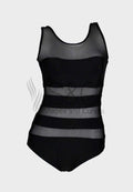 BLACK STRIPE MESH ONE PIECE SWIMWEAR