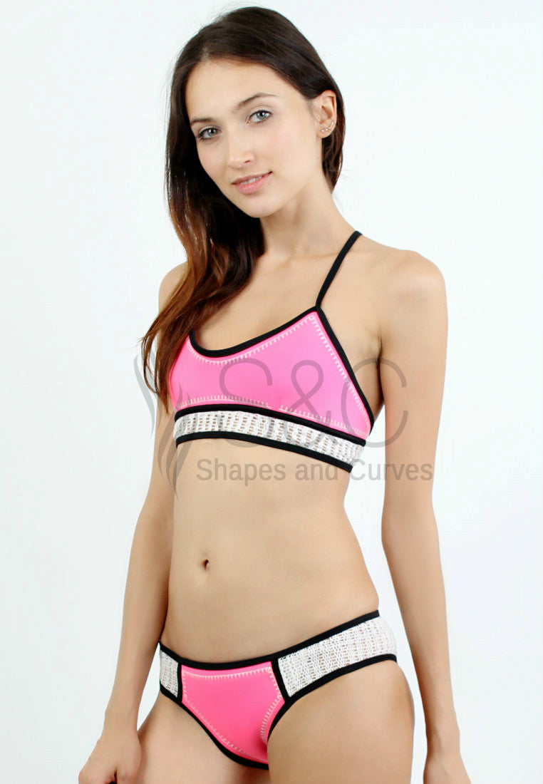 MACRAME MAD NEOPRENE TWO PIECE SWIMWEAR