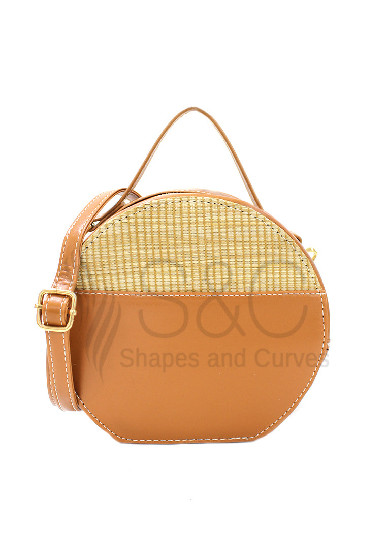 Round Leather Rattan Sling Bag