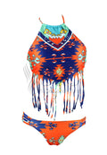 TRIBAL PRINT TASSELED HALTER NECK TWO PIECE SWIMWEAR