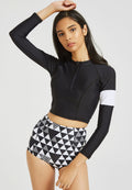 Two Piece Rashguard Aztec Longsleeve Swimsuit