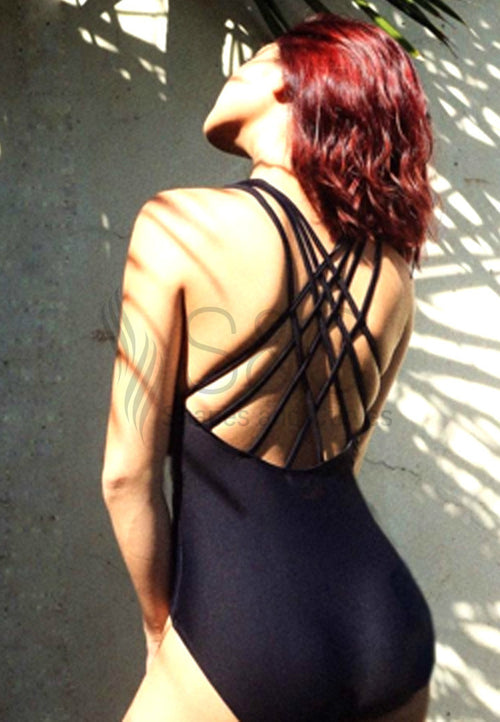 SEXY STRAPPY BACK ONE PIECE SWIMWEAR