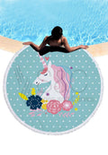 Unicorn Print Round Beach Mat