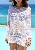 KNITTED LONGSLEEVE BEACH COVER UP DRESS