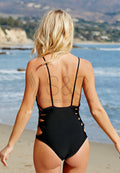 V NECK CLASSIC LACE UP SIDE LOW BACK SEXY MONOKINI ONE PIECE SWIMWEAR SWIMSUIT