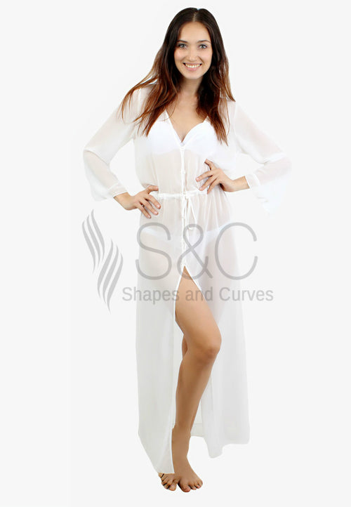 SEXY LONG SLIT BEACH BIKINI COVER UP DRESS