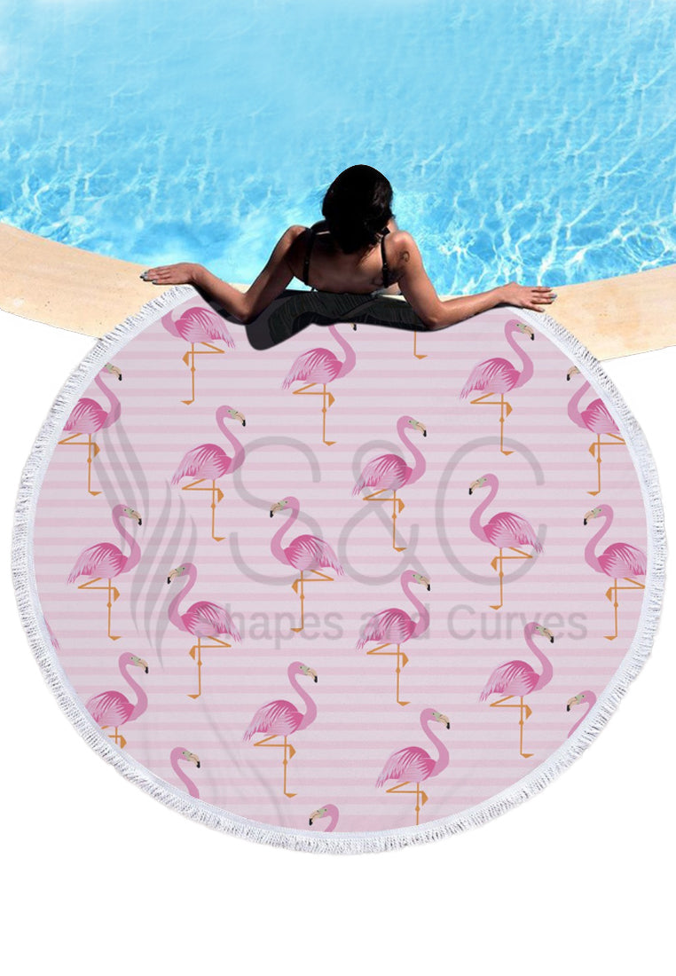 Flamingo Round Beach Mat