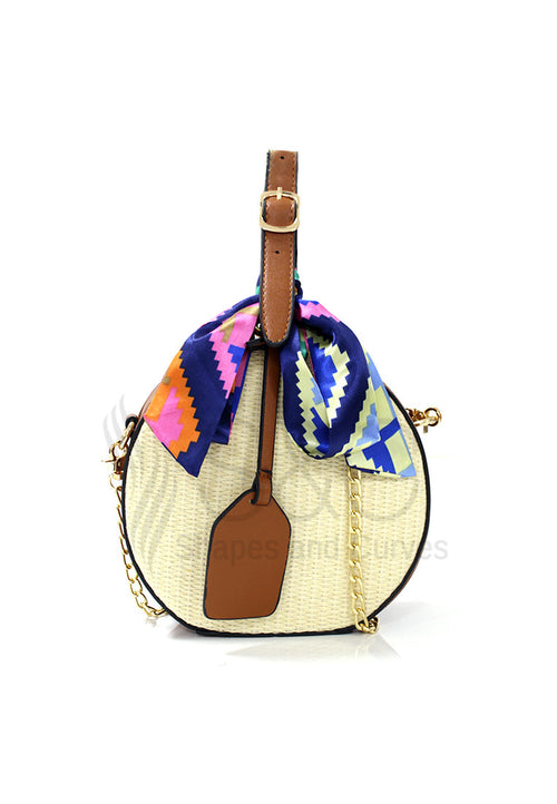 Round Rattan Straw Basket Beach Sling Bag
