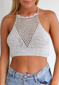 KNITTED HOLLOW OUT CROCHET HALTER TOP